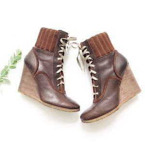 Chloe Brown Leather Wedge Boots